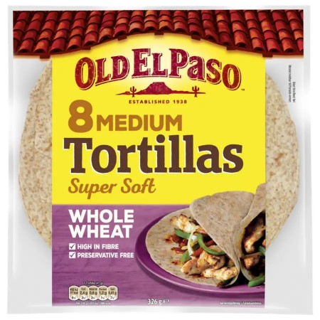 Old El Paso 8 Medium Tortillas Whole Wheat